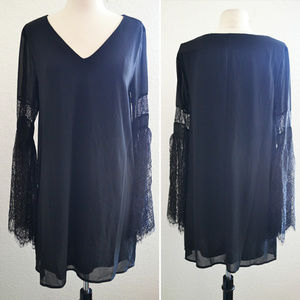 Dresses & Skirts - Black Shift Dress with Lace Bell Sleeve Size L